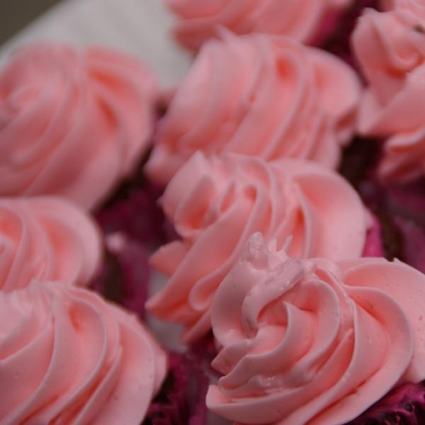 minicupcakes met roze gekleurde witte chocoladecreme swirl