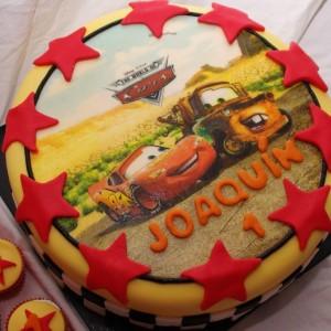 cars taart met eetbare print