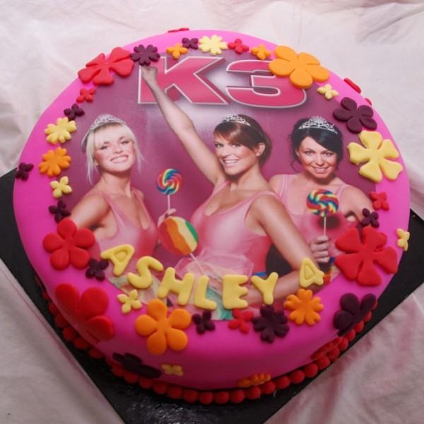 k3 taart met eetbare print