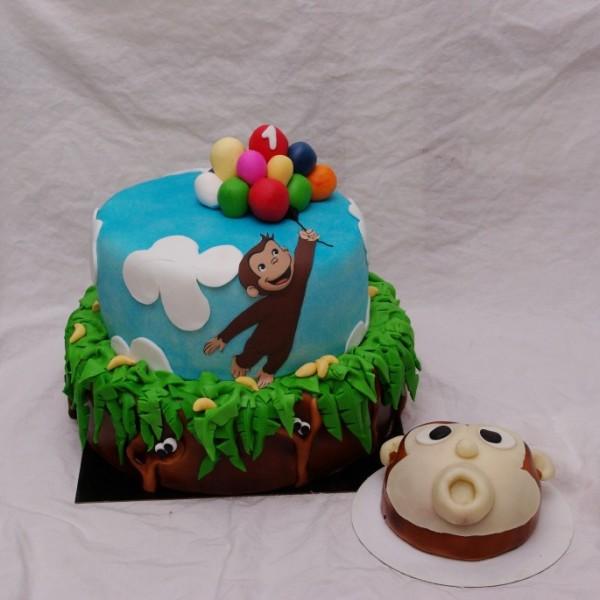 curious george nieuwsgierig aapje stapel taart met bijpassend meppertje