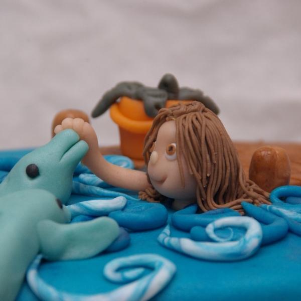 zwemmen met dolfijnen taart