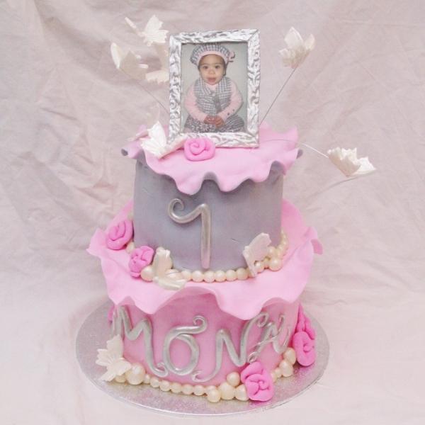 roze/grijze taart met eetbaar fotolijstje