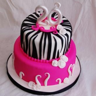 roze / zebra taart