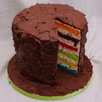 M&M's regenboogtaart met chocoladeganache