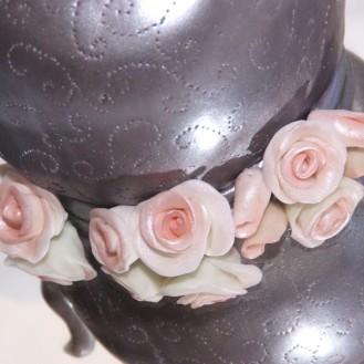zilveren theepot taart met fondant rozen