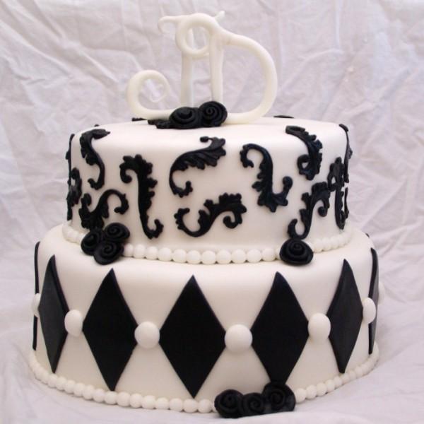 zwart witte bruidstaart