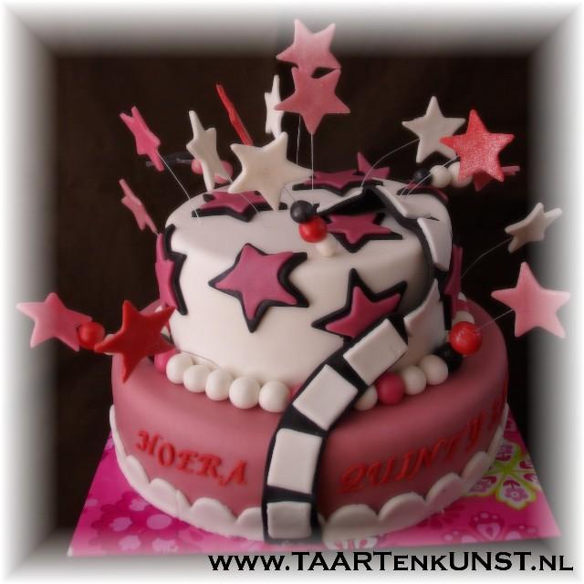 roze hollywood sterren taart