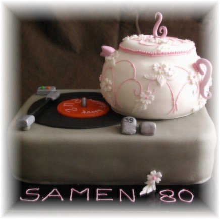 turntable with teapot cake