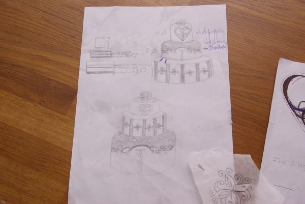 schetsen voor bruidstaart sketches for weddingcake