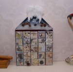 doosjes in adventkalender gescrapt, mixed media