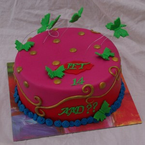 oilily cake with butterflies