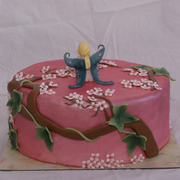 roze bloesem muurschildering elfje taart