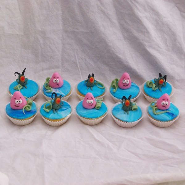 spongebob patrick plankton cupcakes