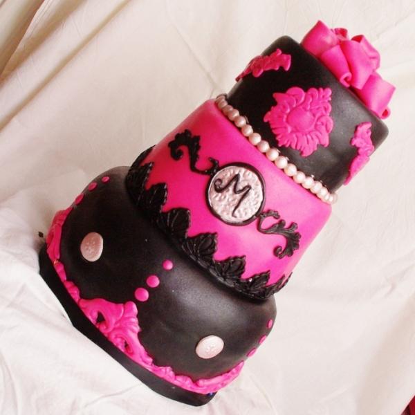 roze met zwarte taart