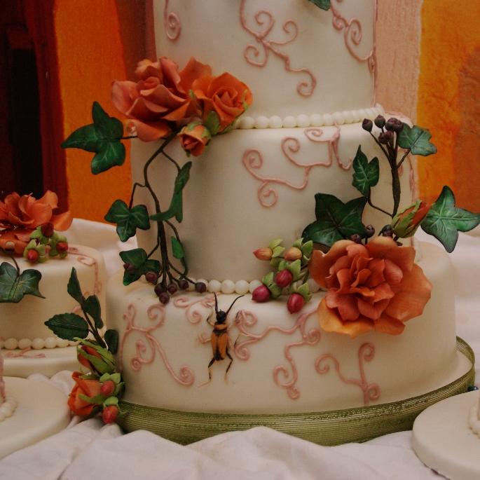 herfst bloemen / rozen bruidstaart